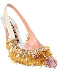 Rochas 100Mm Fringed Suede Slingback Pumps - Lyst