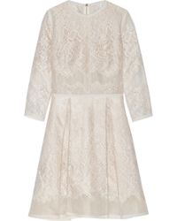Elie Saab Lace-Appliquéd Tulle And Organza Mini Dress - Lyst