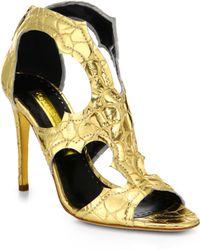 Rupert Sanderson Estelle Cutout Metallic Leather Sandals - Lyst