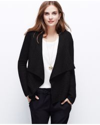 Ann Taylor Wool Blend Open Cardigan - Lyst