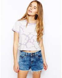 Asos Cropped T-Shirt In Cracked Print - Lyst