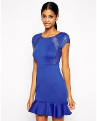 Tfnc Pep Hem Dress with Lace Inserts - Lyst