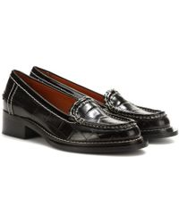 Acne Studios - Penny Embossed-Leather Loafers - Lyst