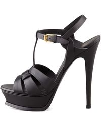 Saint Laurent Tribute Platform Sandal Black - Lyst