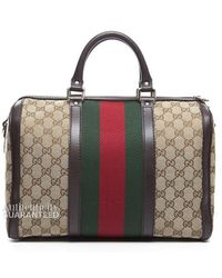 Gucci Preowned Monogram Canvas Webbed Boston Bag - Lyst