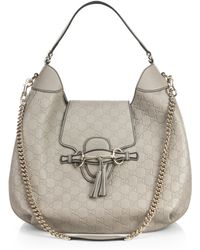 Gucci Emily Ssima Leather Hobo Bag - Lyst