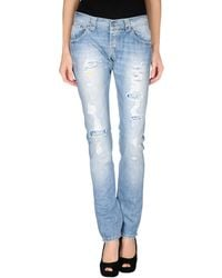 Dondup Blue Denim Trousers - Lyst