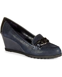 Anne Klein Keep It Up Wedge Loafers - Lyst