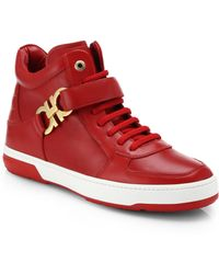 Ferragamo Nayon Gancini Leather High-Top Sneakers - Lyst