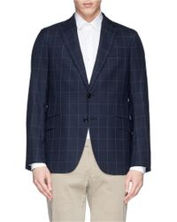 Armani Windowpane Check Plaid Wool Blazer - Lyst