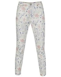 Paul Smith White 'Palette Floral' Print High-Waist Jeans - Lyst