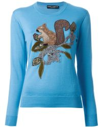 Dolce & Gabbana Lace Embroidered Squirrel Sweater - Lyst