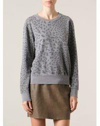 Current/Elliott Leopard Print Sweatshirt - Lyst