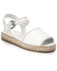 Prada Leather Espadrille Sandals white - Lyst