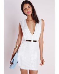 Missguided Lace Pleated Plunge Waist Mini Dress White - Lyst