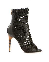 Balmain Braided Leather Sandals - Lyst