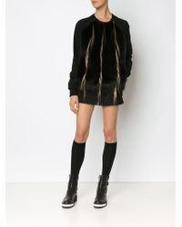 Vera Wang - Raccoon And Goat Fur Panel Sweatshirt - Lyst