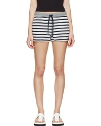 T By Alexander Wang Navy And Grey Striped French Terry Lounge Shorts - Lyst