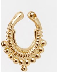 Asos Nose Cuff gold - Lyst