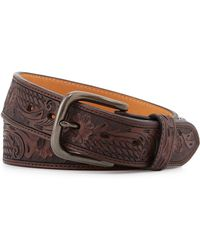 Will Leather Goods - Floral Basket-weave Leather Belt - Lyst