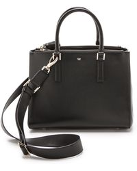 Anya Hindmarch Black Grey Leather Bathurst Bow Soft