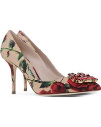 Dolce & Gabbana Floral-Print Pumps red - Lyst