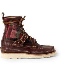 Yuketen Paneled Leather Laceup Boots - Lyst
