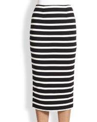 Nicholas Striped Ponte Pencil Skirt - Lyst