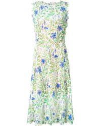 Oscar de la Renta Floral-Lace Silk Dress - Lyst