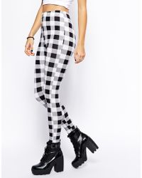 Asos Leggings in Gingham Check Print - Lyst
