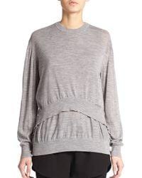 Alexander Wang Merino Wool Draped Sweater - Lyst
