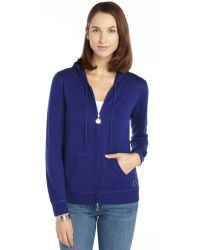 Moncler Royal Blue Cashmere Blend Knit Zip Maglia Tricot Hooded Cardigan - Lyst