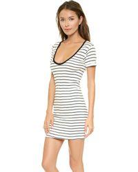 Edith A. Miller Scoop Neck Short Sleeve Mini Dress  Naturalblackspruce Stacked - Lyst
