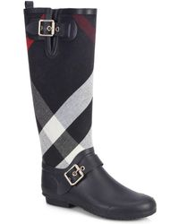 Burberry Birkback Check Knee-High Rain Boots - Lyst