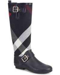 Burberry Birkback Check Knee-High Rain Boots blue - Lyst