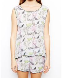 Asos Crazy Cat Shell Top - Lyst