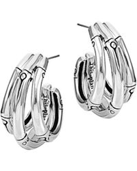 John Hardy Bamboo Silver Small J Hoop Earrings - Lyst