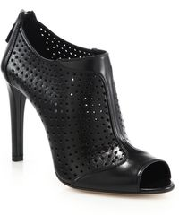 Prada Perforated Leather Open-Toe Booties - Lyst