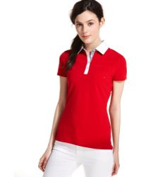 Tommy Hilfiger Shortsleeve Plaidtrim Polo Top - Lyst