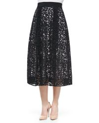 Milly Lace Tealength Skirt - Lyst