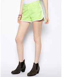 Colorblock Color Block Denim Shorts with Racer Finish - Lyst