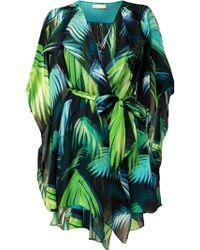 Matthew Williamson Palm Chiffon Waterfall Wrap Dress - Lyst