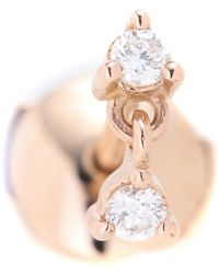 Stone - 18Kt Rose Gold Single Earring With White Diamonds - Lyst