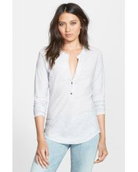 James Perse Split Henley Jersey Top - Lyst