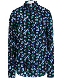 Stella McCartney Blossom-Print Silk-Crepe Shirt blue - Lyst
