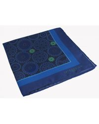 Tateossian - Big Ben Patterned Silk Pocket Square In Blue - Lyst