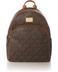 Michael Kors Logo Brown Backpack - Lyst