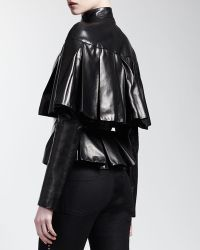 Alexander McQueen Longsleeve Capelet Leather Jacket - Lyst