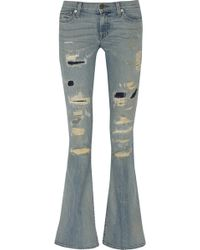 Textile Elizabeth And James Lennox Distressed Mid-rise Flared Jeans - Lyst