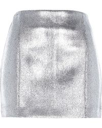 River Island Silver Metallic Mini Skirt - Lyst